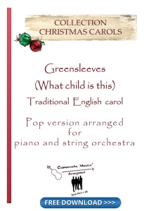 Greensleeves for piano and strings